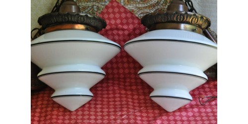 White and Black Art Deco Glass Pending Lamps
