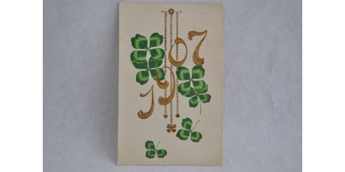 Carte postale de 1907 avec trèfles porte-bonheur