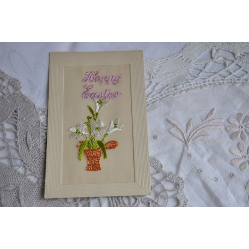 Antique Easter Silk Embroidered Postcard