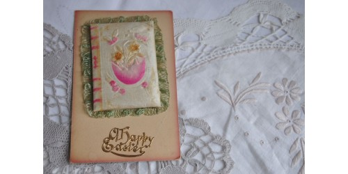 Antique Silk Ornament Happy Easter Card
