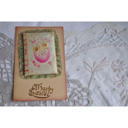 Carte victorienne de voeux de Pâques en soie