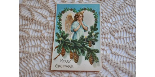 Victorian Embossed Christmas Card with Angel Child
