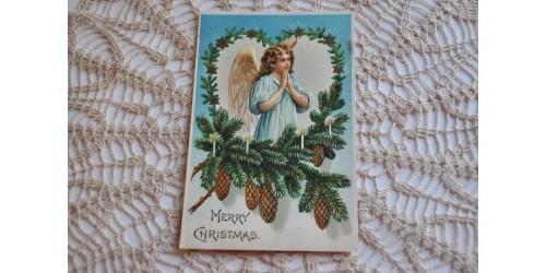 Carte de Noël victorienne gaufrée à motif d'ange