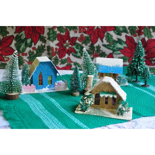 Christmas Retro Putz Village Houses and Trees