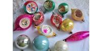 Lot de boules de Noël anciennes variées