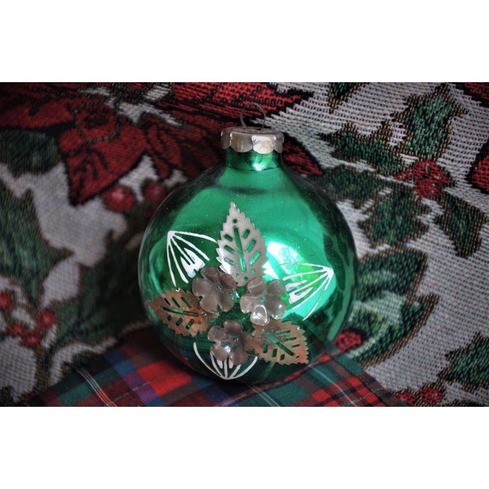 East Germany Glass Xmas Ornaments 1950 Rare Floral Decor