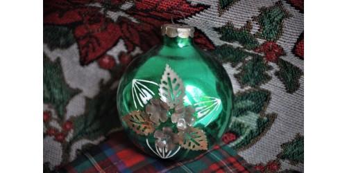 Boules de Noël anciennes à décor floral unique