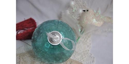 Grosse boule de Noël en verre craquelé style Kugel
