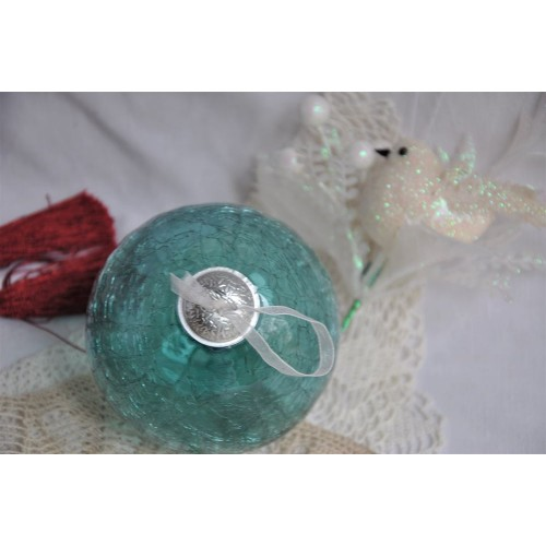 Bright Aqua Blue Crackle Glass Christmas Ornament