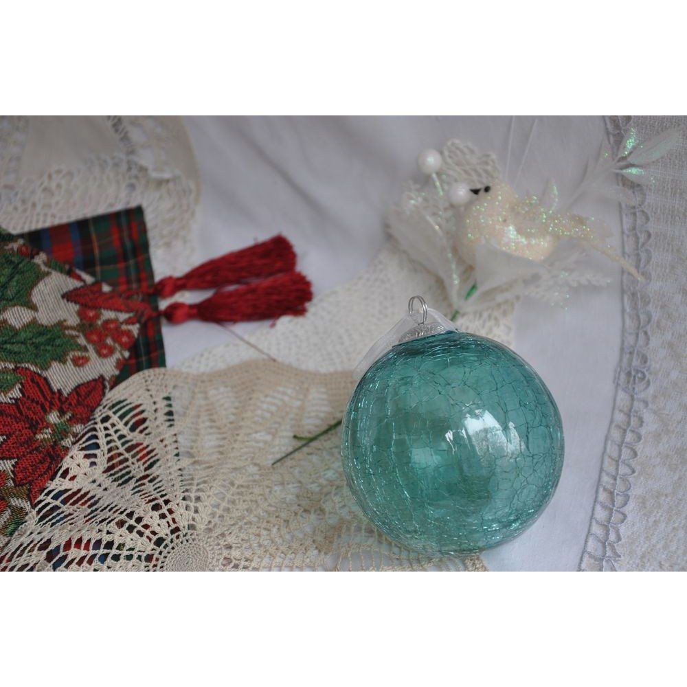 boule d coration de no l kugel bleu aqua 10 cm verre souffl. Black Bedroom Furniture Sets. Home Design Ideas