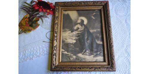 Lithographie religieuse dans son cadre original