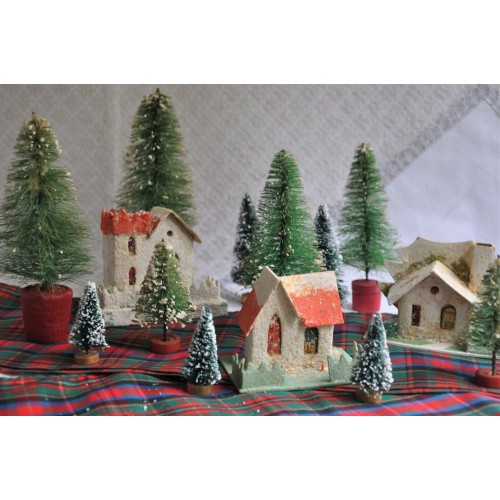 Christmas Putz Houses Brush Trees Decor