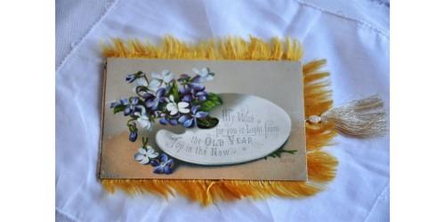 Carte de Noël victorienne à frange et gland de soie