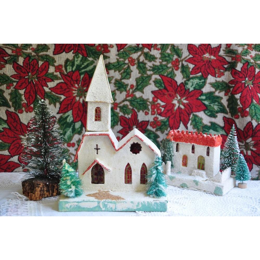 Maison Village Noel Christmas Vintage Putz Village Church House Trees Cardboard Japan