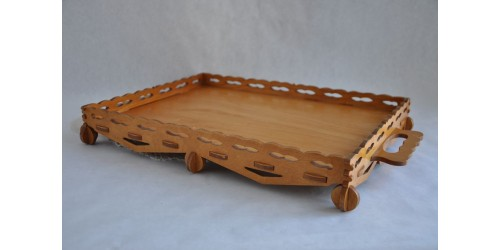 Fretwork Wood Veneered Unique Serving Tray