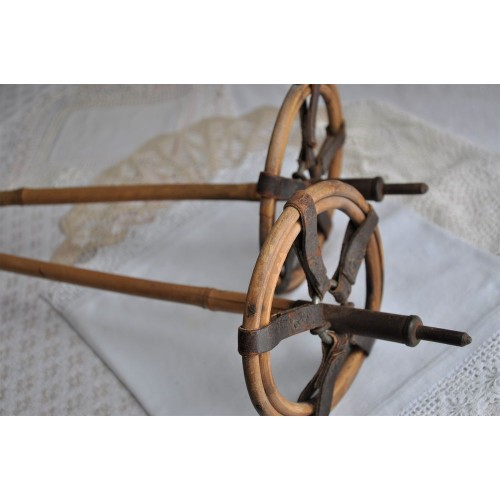 Old Leather & Bamboo 1930's Ski Poles