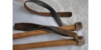 Bâtons de ski en cuir et bambou années 30