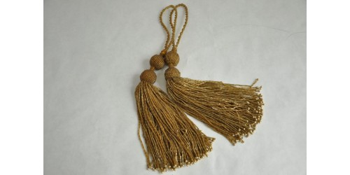 Rare Antique French Passementerie Pair of Glass Beads Tassels