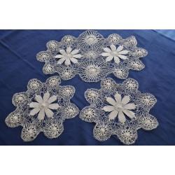 Set of Three Needle Lace Doilies