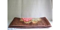 Tapis ancien crocheté en laine Québec XIXe