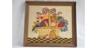 Tableau à broderie Crewel sur toile de lin