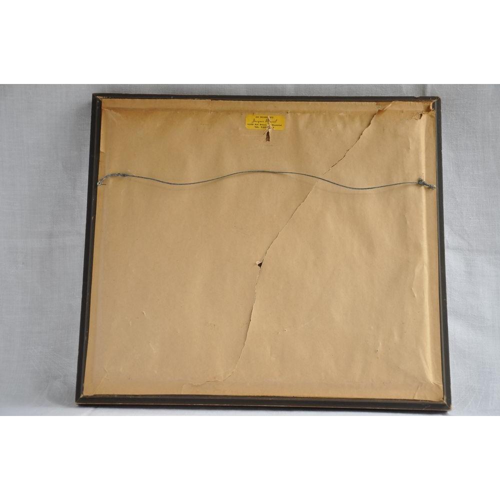 Tableau broderie crewel laine sur toile de lin vintage for Tableau photo sur toile
