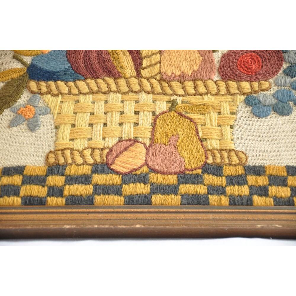 Vintage Framed Crewel Embroidery Picture Fruit Basket Still Life