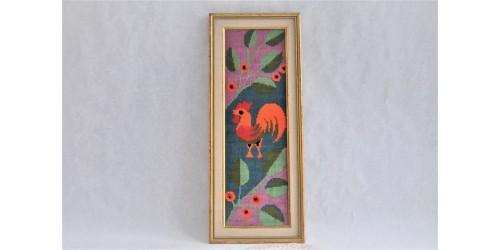Tableau vintage d'un coq brodé au petit point