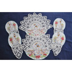 Crochet lace Embroidered Peacocks Antimacassar Sets