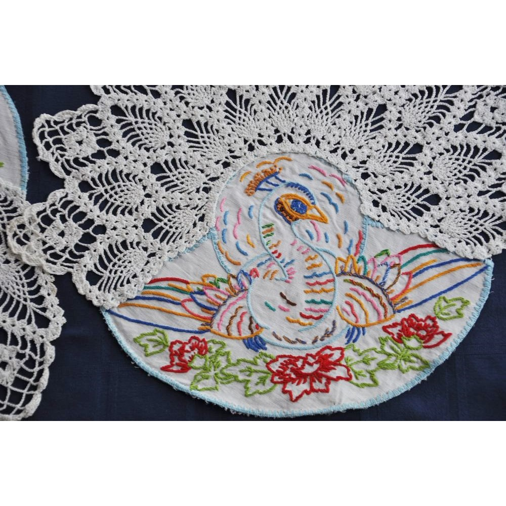 Vintage Crocheted And Embroidered Peacocks Antimacassar Sets Chair