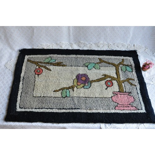 Antique Art Deco Style Hooked Rug