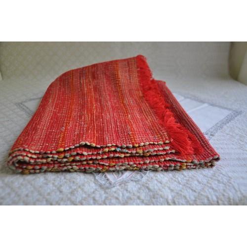 Carpette tissée rectangulaire artisanale années 70