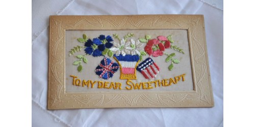 Antique WWI Embroidered Valentine Postcard
