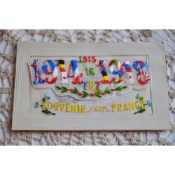 Antique WWI Silk Pocket Embroidered Postcard - 1