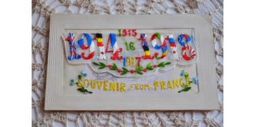 Antique WWI Silk Pocket Embroidered Postcard - 1