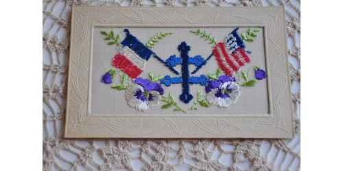 Antique WW Embroidered Postcard with Cross of Lorraine