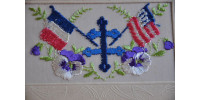 Carte postale brodée avec Croix de Lorraine