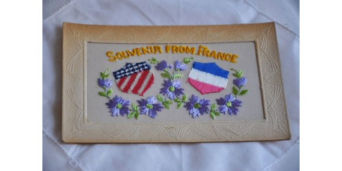 Antique WWI Embroidered Souvenir Card