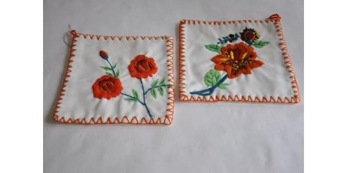 Vintage Crewel Embroidery Handmade Potholders