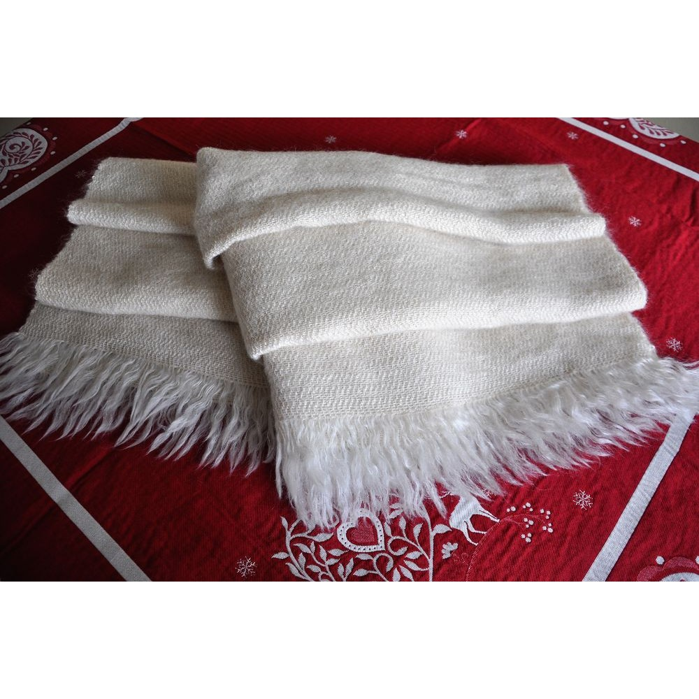 48c48c583613 Châle jeté artisanal vintage en mohair et laine canadienne