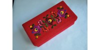 Hungarian Embroidered Felt Covered Storage Box