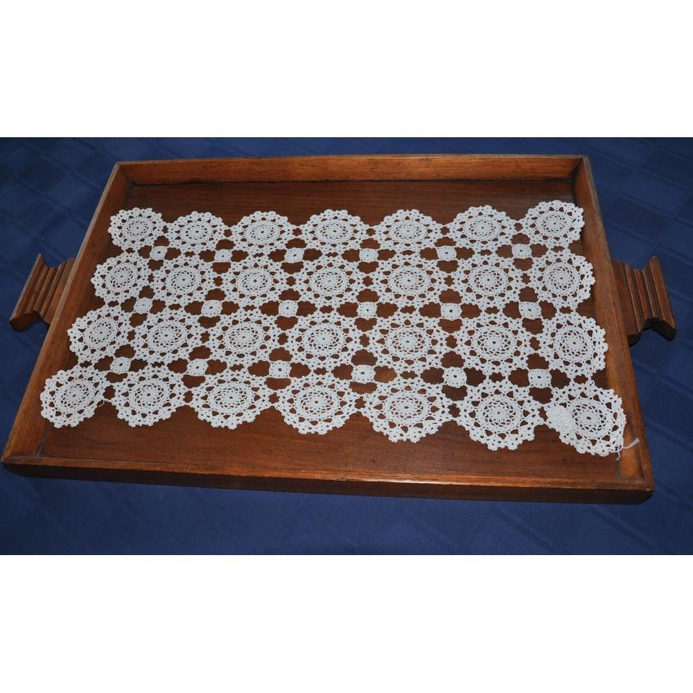Napperon vintage blanc rectangulaire fait la main au crochet - Napperon crochet chemin de table ...