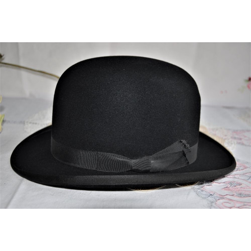 Black Felt Bowler Hat Made in England Small Size