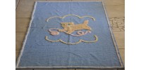 Vintage All Cotton Chenille Baby Bedspread With Kitten
