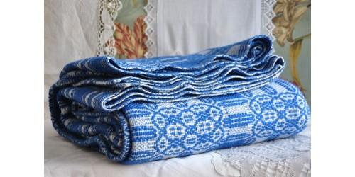 Vintage Quebec Overshot Blue Wool Blanket