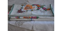 Vintage Hand Embroidered Linen Tablecloth