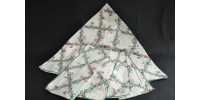 Small Round Vintage Tablecloth Cotton Floral Pattern 4 Napkins