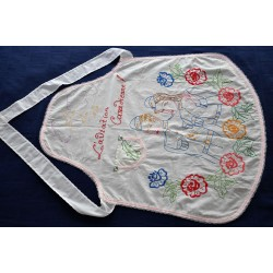 Vintage Embroidered Cotton WW2 Maid Apron