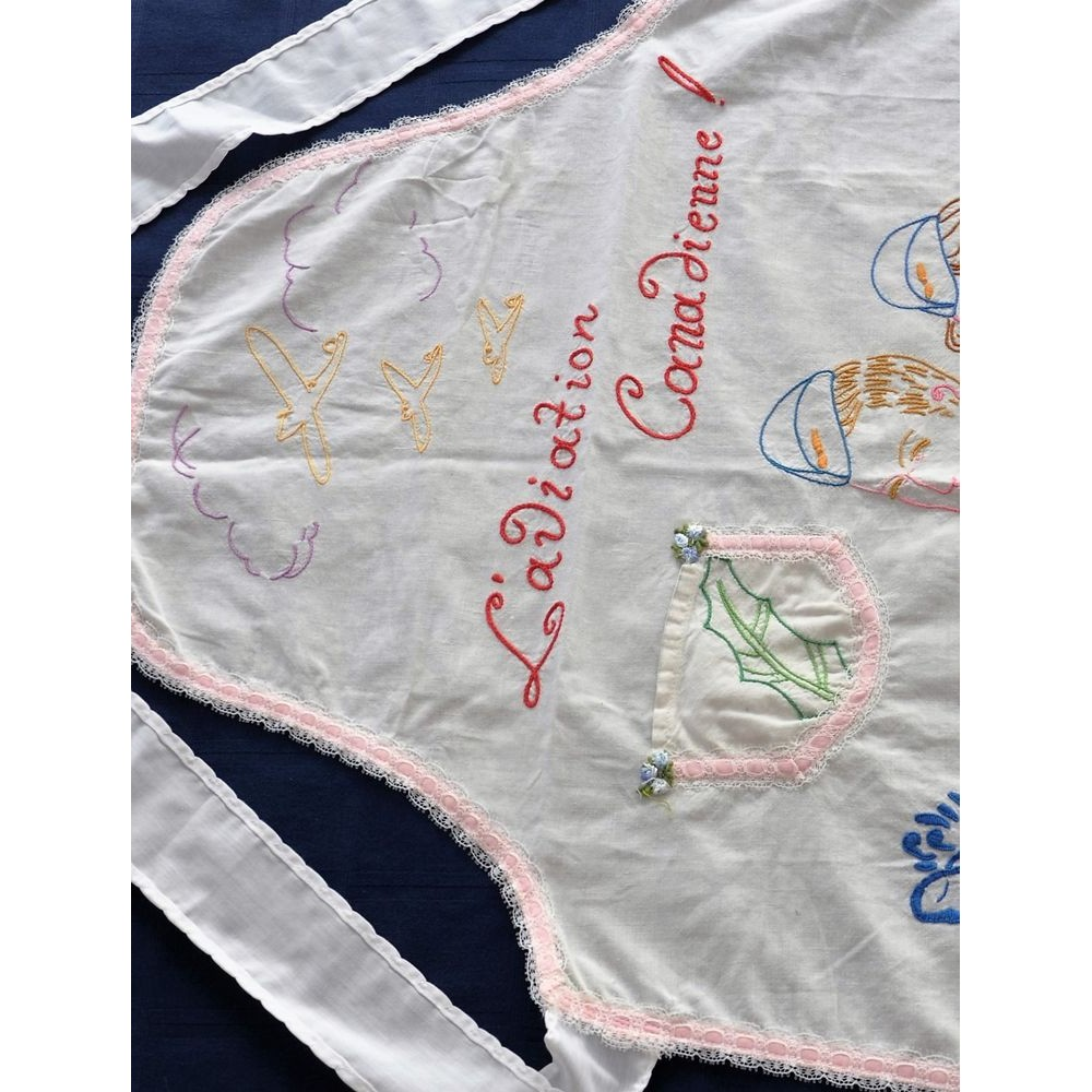 Vintage Embroidered Maid Hostess Apron Ww2 Pattern