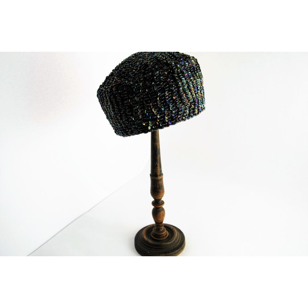 Vintage Classic 1960s Sequined Pillbox Hat ... 7405a68534d